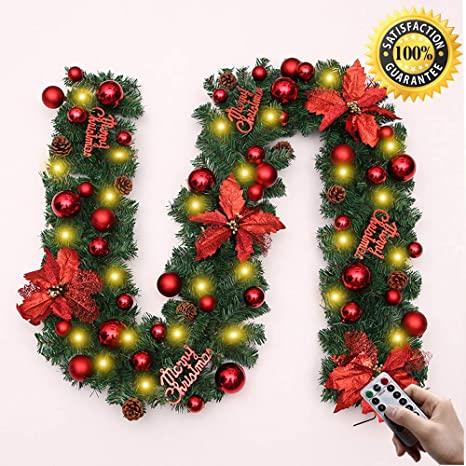 LNDDP Navidad Decoraciones Garland, 2,7 M chimeneas Escaleras Decorado guirnaldas 8 Modo Guirnalda Luces LED Iluminado Chucherías Bola la Flor del árbol Navidad Festiva D é Cor: Amazon.es: Deportes y aire libre