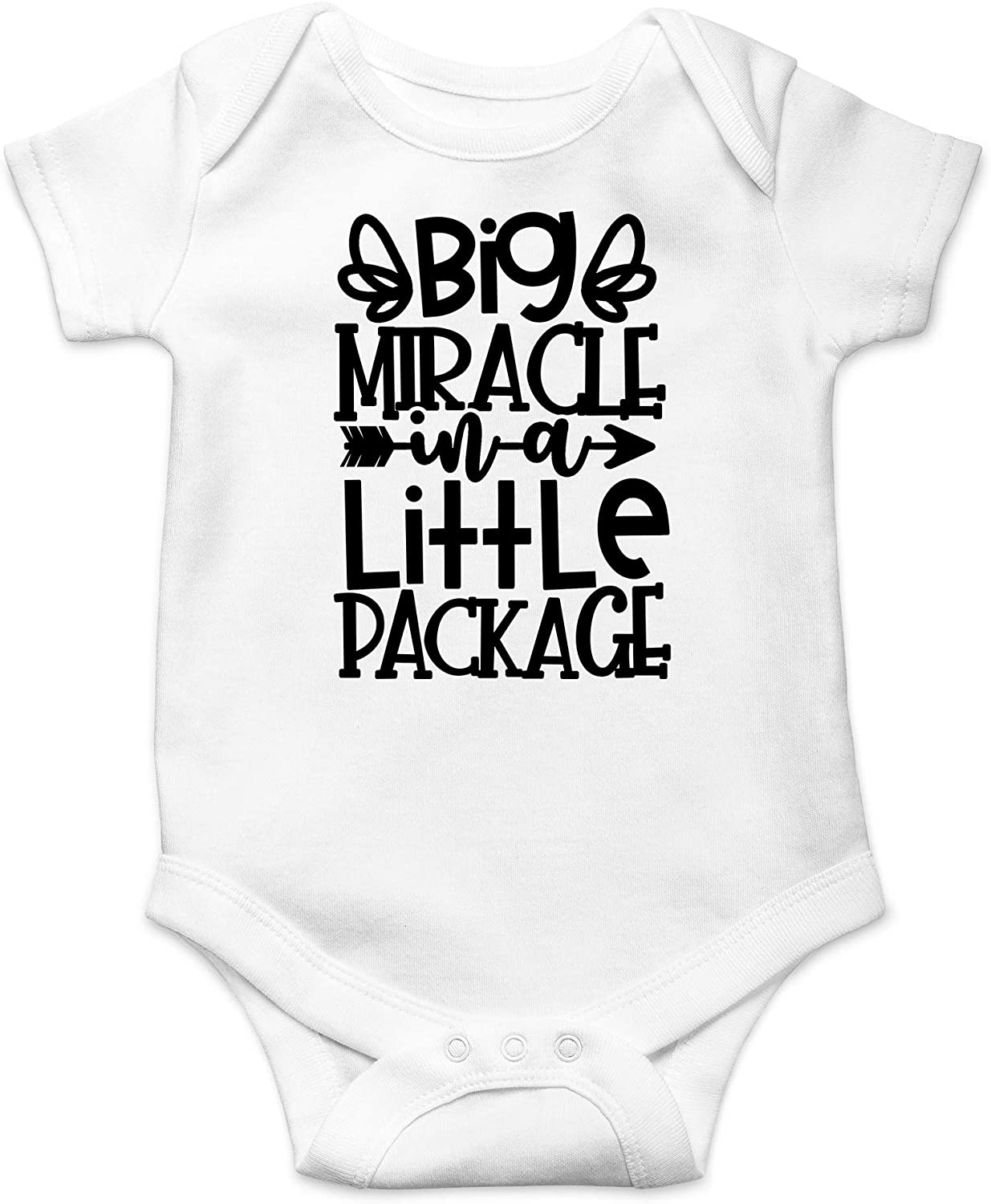 Big Miracle in A Little Package - Pregnancy Reveal Take Home Outfit - Cute Infant One-Piece Baby Bodysuit