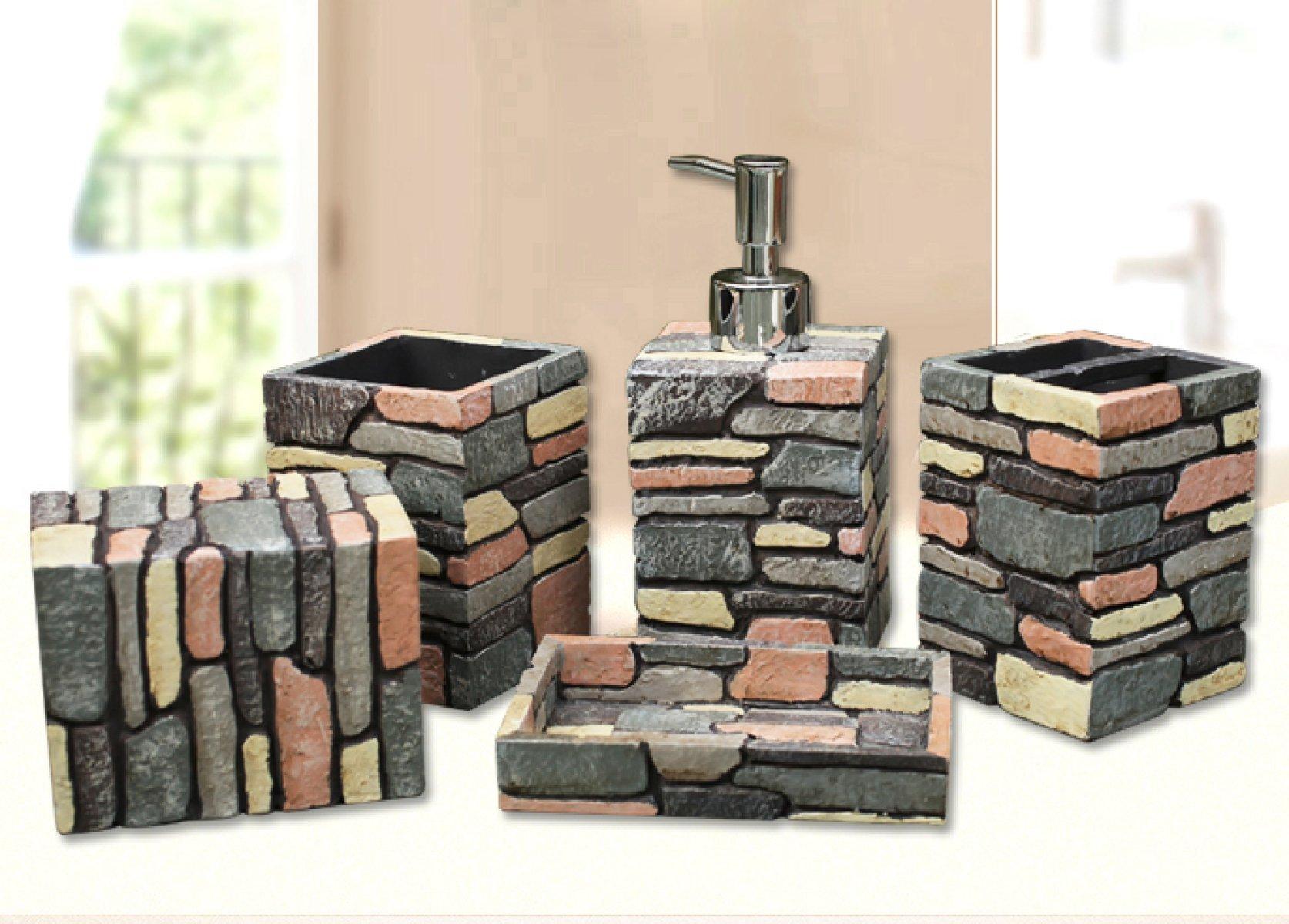 LZSJ Bathroom Gargle Cup Set 5 Piece Bathroom Accessories Set Nostalgic American Country Resin Toilet Gift