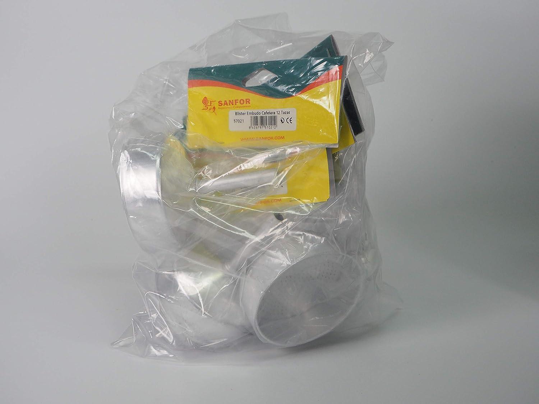Sanfor 80044 Caja 50 Blíster embudo cafetera aluminio O.L. 12 tazas (10 paquetes de 5 unidades), PLATEADO: Amazon.es: Hogar