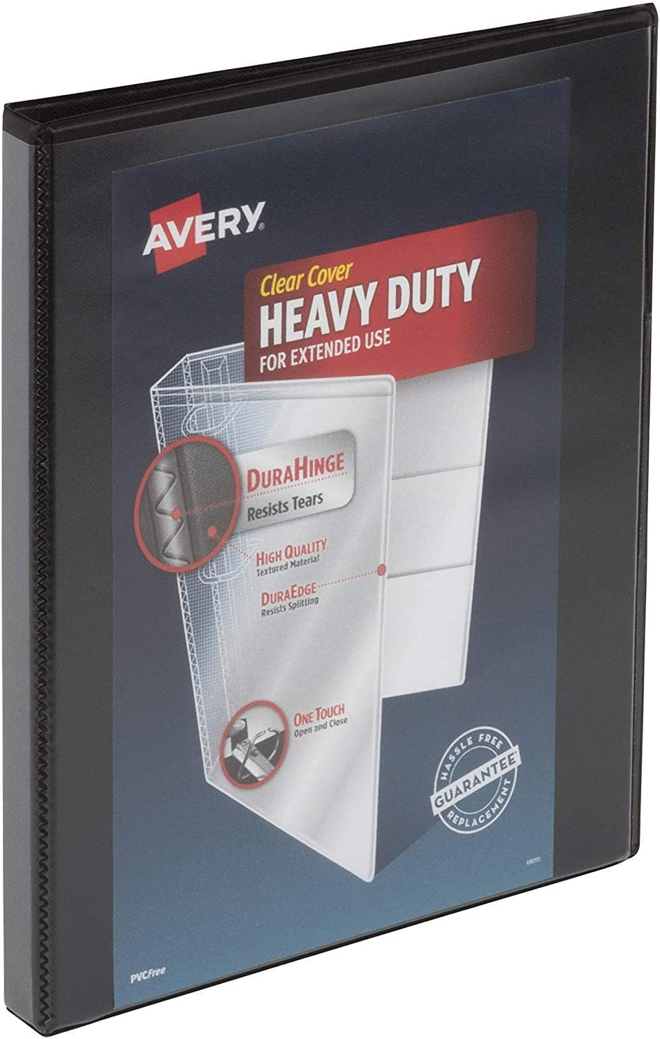"""Avery 1/2 inch Heavy Duty View 3 Ring Binder, One Touch Slant Ring, Holds 8.5"""" x 11"""" Paper, 1 Black Binder (79381) [並行輸入品]"""