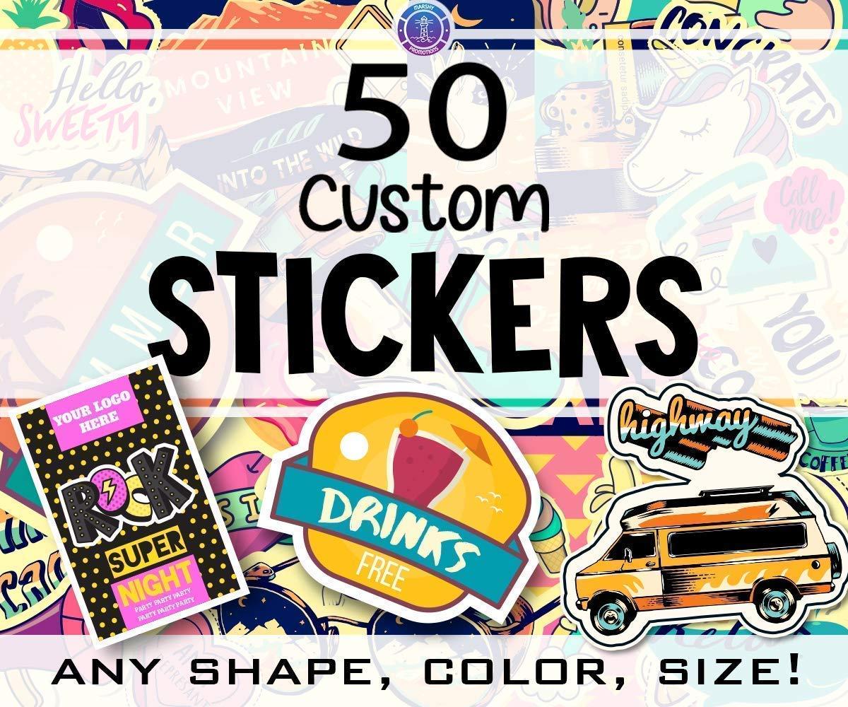 Amazon com: 50 Custom Vinyl Stickers with your design