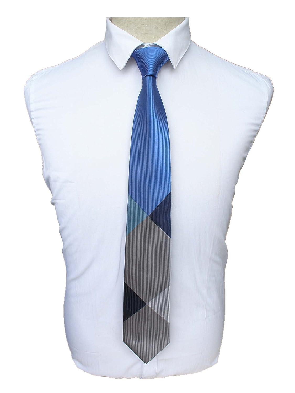 JEMYGINS Solid Plaid Silk Ties for Men Classic Formal Necktie