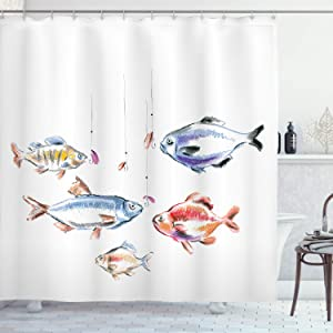 "Ambesonne Fishing Shower Curtain, Retro Fishing Love Theme with Goldfish Herring Bream Bass Salmon Image, Cloth Fabric Bathroom Decor Set with Hooks, 70"" Long, Multicolor"