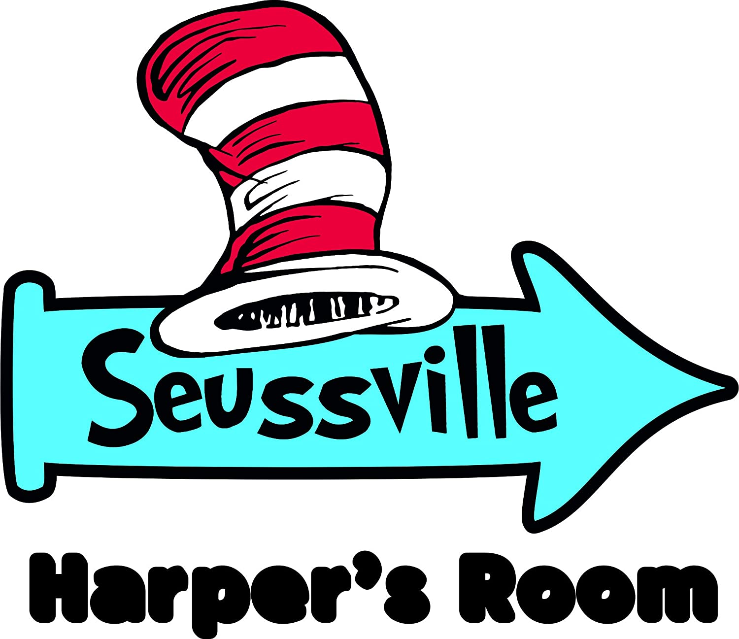 Amazon com dr seuss hat seussville personalized custom family name wall decals wall design stickers vinyl removable children kids rooms girls boys baby