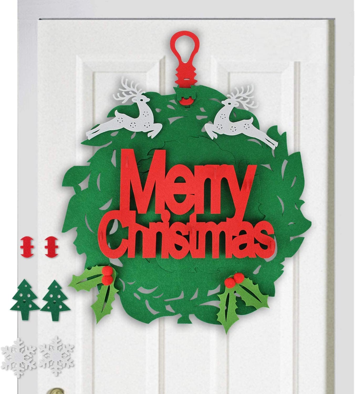 Appok Felt Christmas Wreath for Front Door Xmas Wreaths Window Decal Wall Hanging Decoration with 8pcs Ornaments 16Inch Merry Christmas Hanging