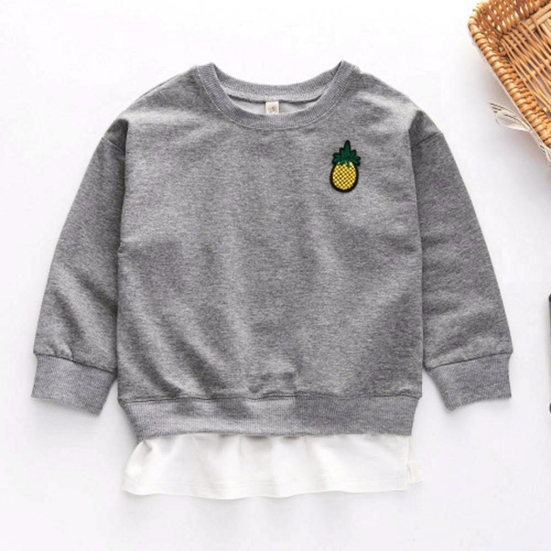 3-4 Jahre alte, Grau Janly Kids Sportkleidung mit Ananas Stickerei T-Shirt Pullover Hosen Anz/üge F/ür 2-7 Jahre alte M/ädchen Outfits
