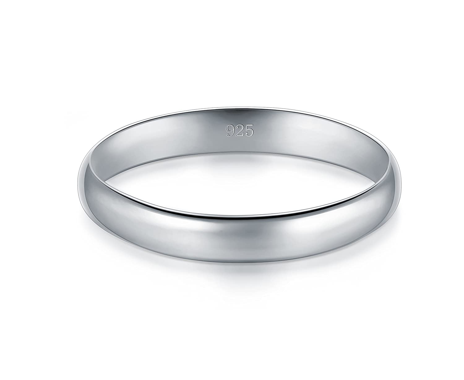 High Polish Plain Dome Tarnish Resistant Comfort Fit Wedding Band 3mm Ring BORUO 925 Sterling Silver Ring