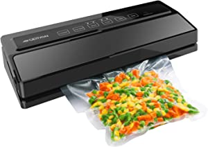 GERYON Vacuum Sealer, Automatic Food Sealer Machine for Food Savers w/Starter Kit|Led Indicator Lights|Easy to Clean|Dry & Moist Food Modes| Compact Design (Black) (Renewed)
