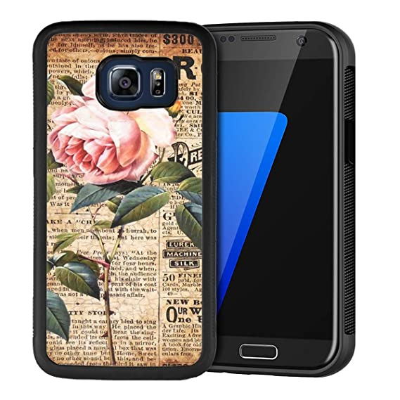 074f48240d Design Case for Samsung Galaxy S6 Edge,Merciey Black PC and TPU Newspaper  Roses Personalized