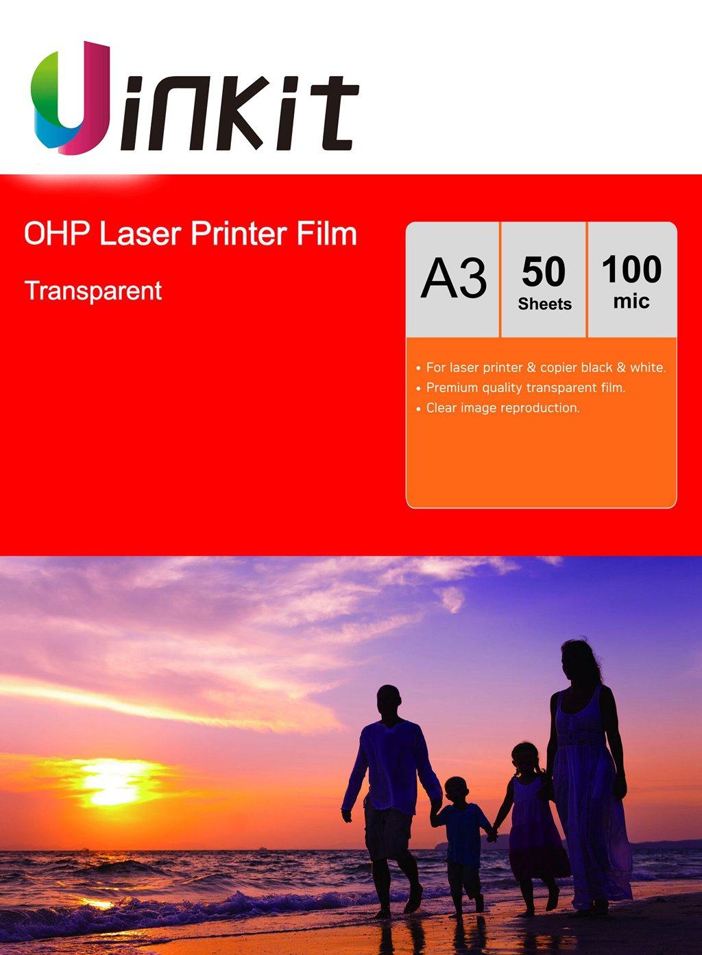 Uinkit - Feuilles transparentes pour ré troprojecteur - Format A4 et A3 - Pour photocopieur et imprimante laser A3 x 50 Sheets