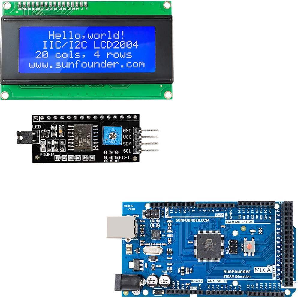 SunFounder Mega 2560 R3 ATmega2560-16AU Board Bundled with IIC I2C TWI Serial 2004 20x4 LCD Module Shield for Arduino R3