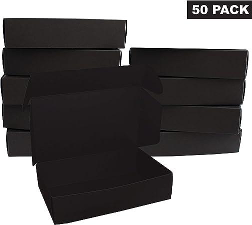 Kurtzy Caja de regalo (Paquete de 50) - Caja de Kraft Negras con Tapas (19 x 11 x 4.5cm) - Cajas de Presentación de Paquete plano para Regalos, Joyas, Galletas, Chocolates y Tarjetas: Amazon.es: Hogar