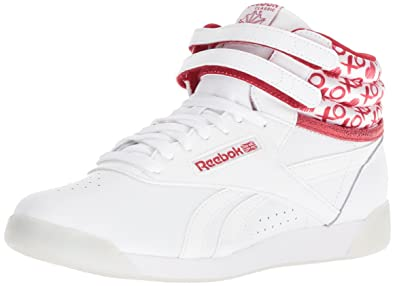 d291810e1d916 Reebok F S HI Hearts Sneaker White Power red Silver Metallic 4.5 M