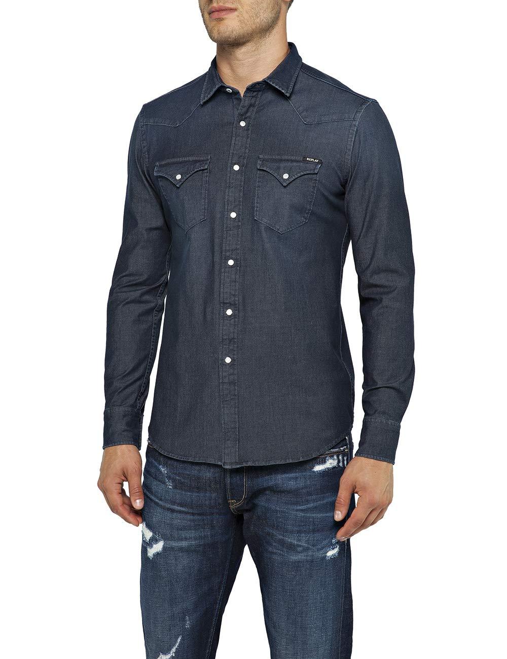 REPLAY M4001 .000.39b 407 Camisa Vaquera, Azul (Dark Blue 7), Medium para Hombre: Amazon.es: Ropa y accesorios