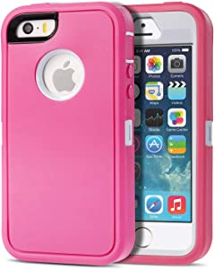 Armorzon iPhone SE Case,iPhone 5s Case,iPhone 5 Case, HeaviTek Defender Body Armor Dust Proof Heavy Duty Shockproof Rugged PC TPU Cover for Apple iPhone SE/5s/5 (Pink White)