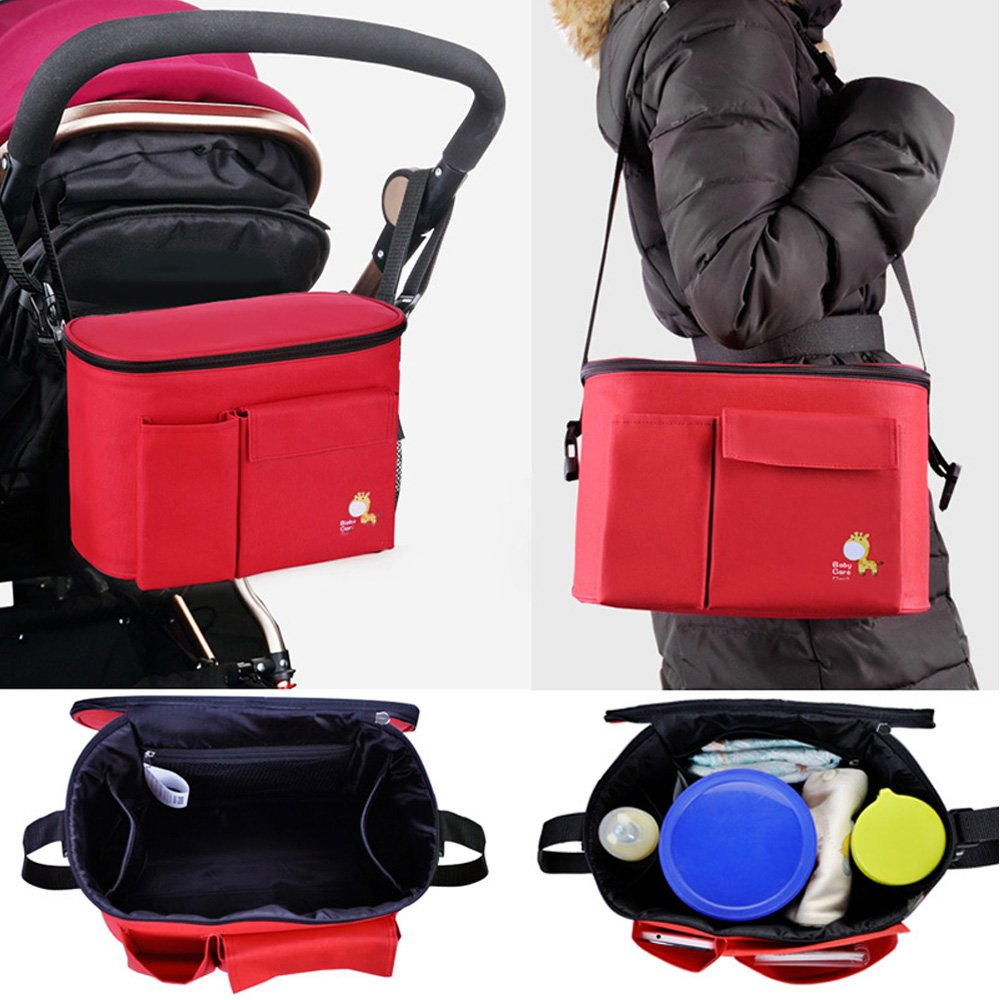 Stroller Organiser Bag Pushchair Organiser Bag Removable Shoulder Strap with Hot Insulation Multifunctional Compartment Durable Waterproof for Wipes Diapers Bibs Soothers Small Toys