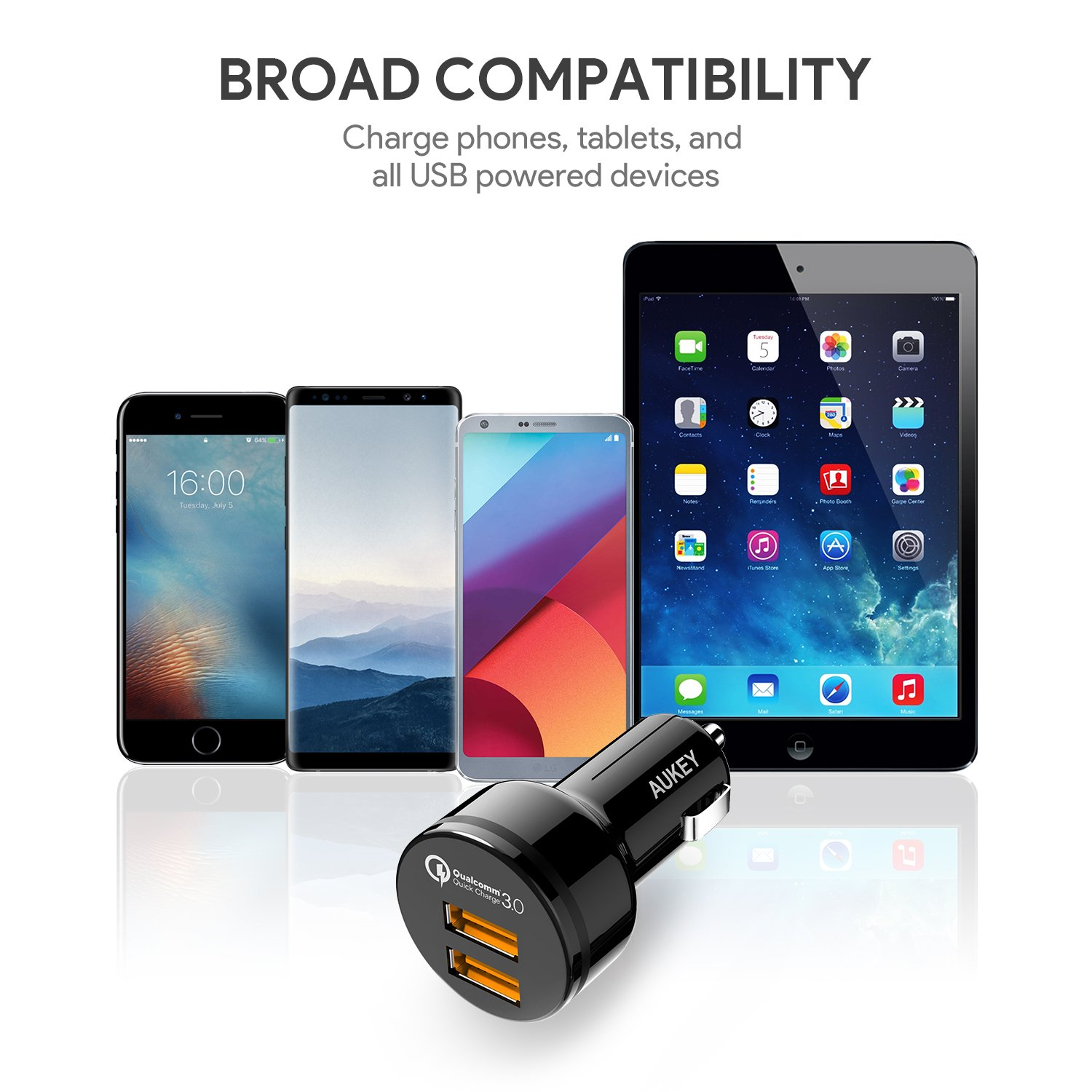 AUKEY QC 3.0 Car Charger, Dual Ports 18W Quick Charge Qualcomm Certified 36W in Total for Samsung Note 8 / S9 / S10+, LG G6 / V30, HTC 10 and More