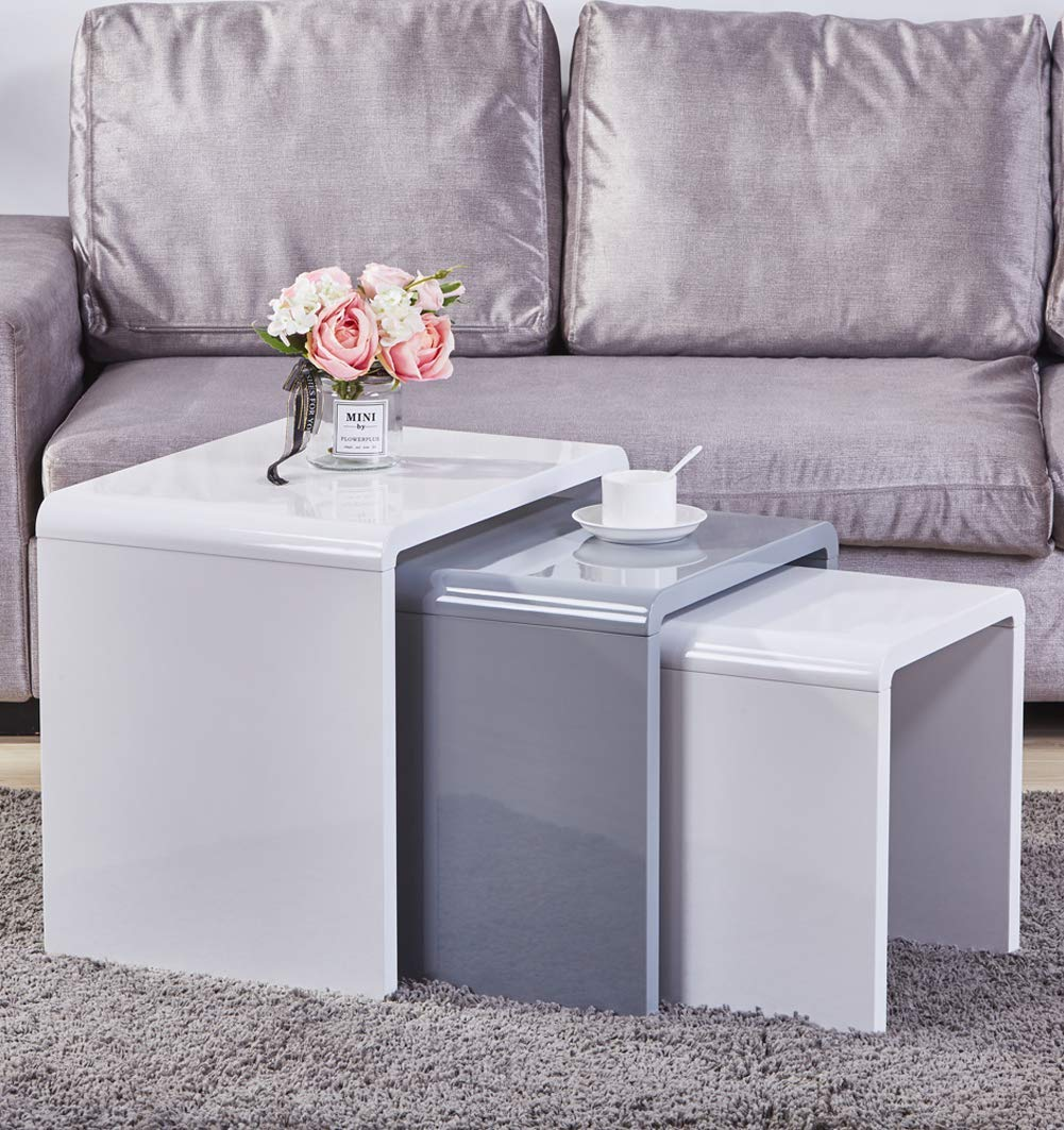 Aonier Nest of 3 Tables High Gloss Coffee Table Set Nesting Tables Wood Coffee Table Living Room End Side Tables,Multi-Functional Side Table, White & Gray by Aonier