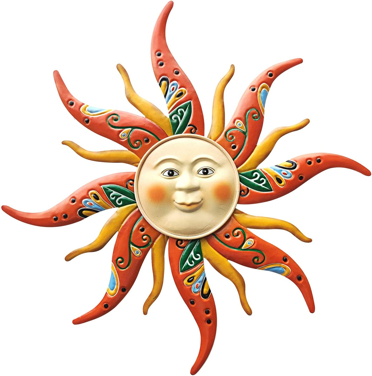 VOKPROOF Metal Sun Wall Art Decor - 14.9 Inch Hand-Painted Sun Wall Sculptures for Hanging Indoor and Outdoor Home Garden Decoration