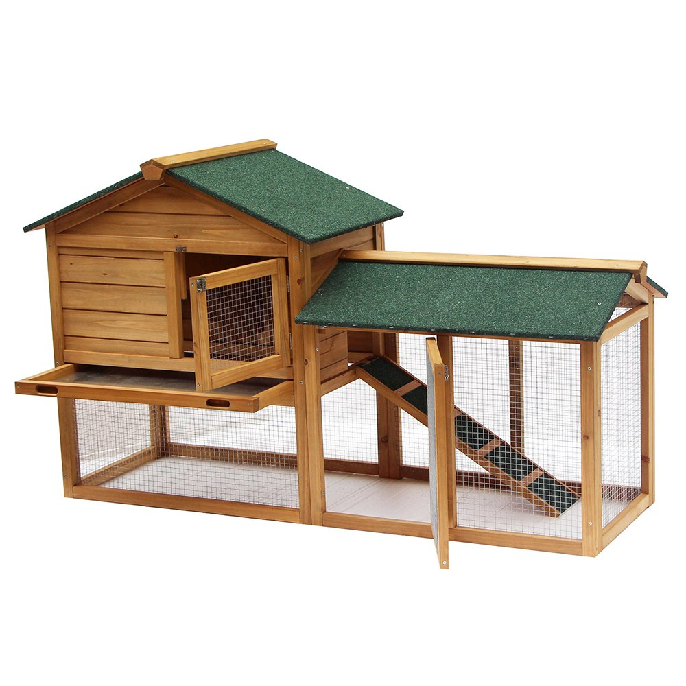 Lovupet 58'' Wooden Chicken Coop Large Backyard Rabbit Cage Pet Run Box Hen House Poultry 0305