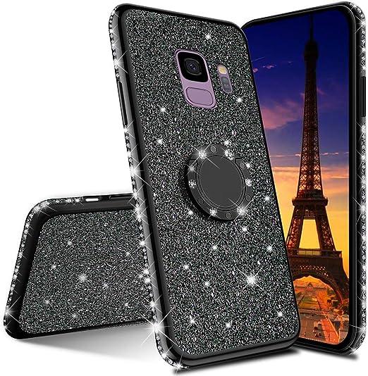 EMAXELER Coque de protection en silicone pour Samsung Galaxy S9 Plus avec strass brillants et placage de luxe en TPU 360 degrés avec anneau de support ...