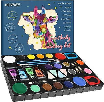 HOVNEE Pintura de cara Facial para Niños Kit de Pintura,maquillaje niños al agua Profesional Pintura,16 Colores 3 Pinceles,Rainbow MakeupSegura y para Pieles Sensibles Maquillaje Halloween: Amazon.es: Belleza
