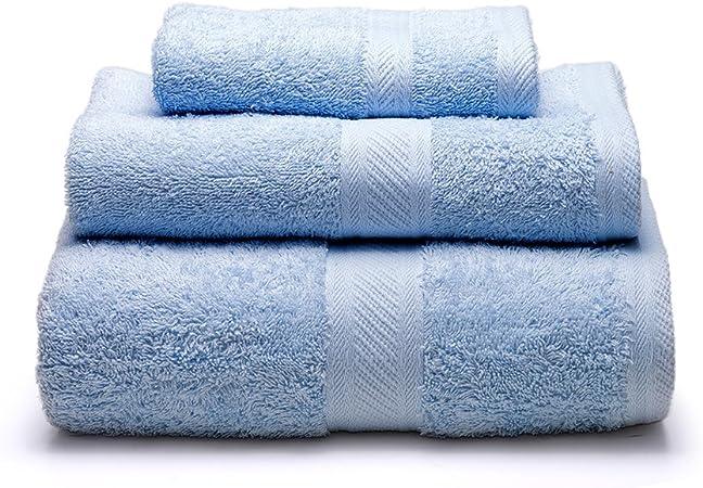 Sancarlos - Juego de 3 toallas YANAI, 100% Algodón, Color Azul ...