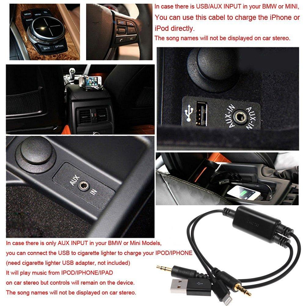 Adaptador Auxiliar con 3,5 mm y USB para BMW//Mini Cooper Y Cable de m/úsica Interfaz de Audio de alimentaci/ón Compatible para iPX XS MAX XR X 8 7 o Dispositivos Android