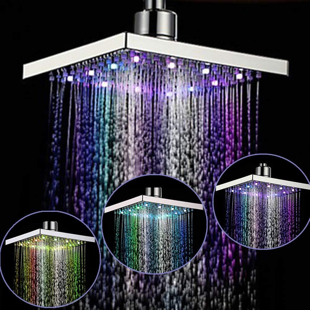 Alivier LED 7 Colores Que cambian el Cabezal de Ducha Sensor de Temperatura Lluvia de Arriba Cabeza de Ducha