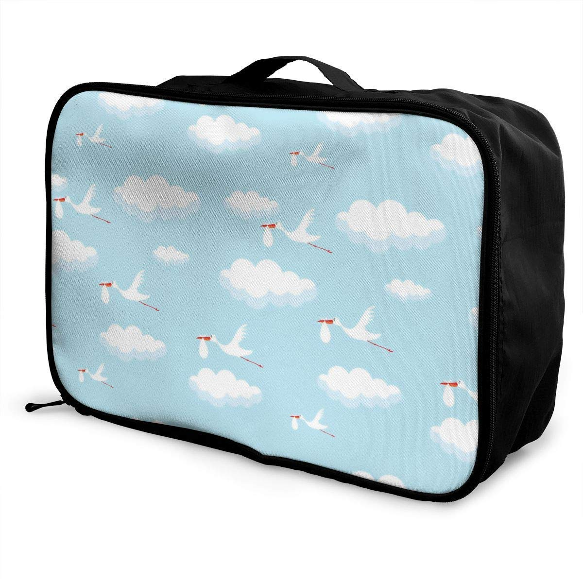 JTRVW Luggage Bags for Travel Portable Luggage Duffel Bag Funny Storks Travel Bags Carry-on in Trolley Handle