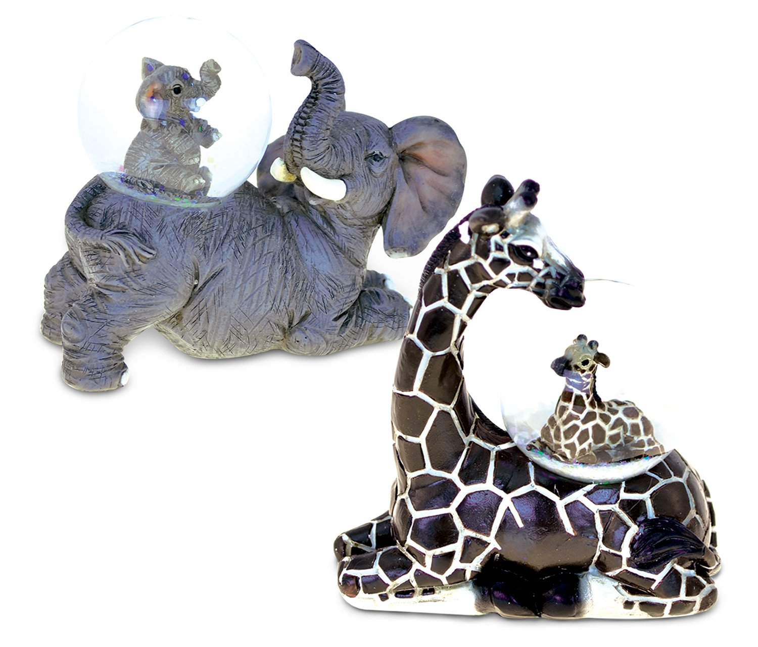 Puzzled Elephant and Giraffe Snowglobes (45MM) Handcrafted Vibrant Wild Life Decor - Animal Theme - Assorted Design, Set of 2 - Item #K9478-9479