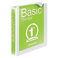 Wilson Jones Basic View Binder, Round Ring, 1 Inch, White