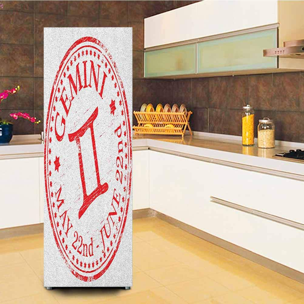 """Zodiac Gemini 3D Door Fridge Stickers Wall Mural,Weathered Old Rubber Stamp Design Vintage Circle Stars Sign and Dates Self-Adhesive Hallway Mural,23.6x59"""",Scarlet and White"""