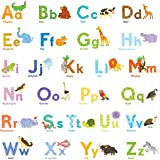 Decowall DAT-1608 Watercolour Animal Alphabet ABC Kids Wall Stickers Wall Decals Peel and Stick Removable Wall Stickers for Kids Nursery Bedroom Living Room