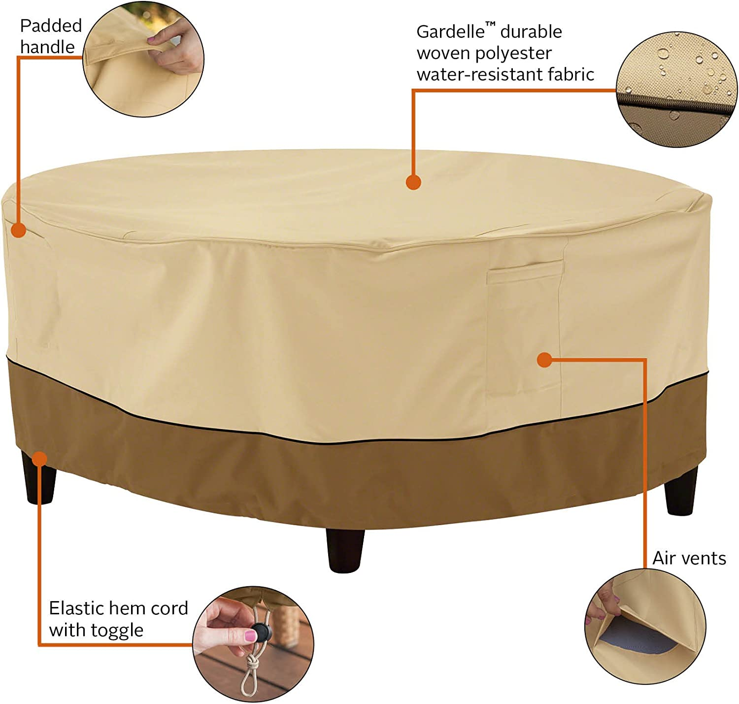 Classic Accessories Veranda Round Patio Ottoman Coffee Table Cover, Small with Veranda Cover
