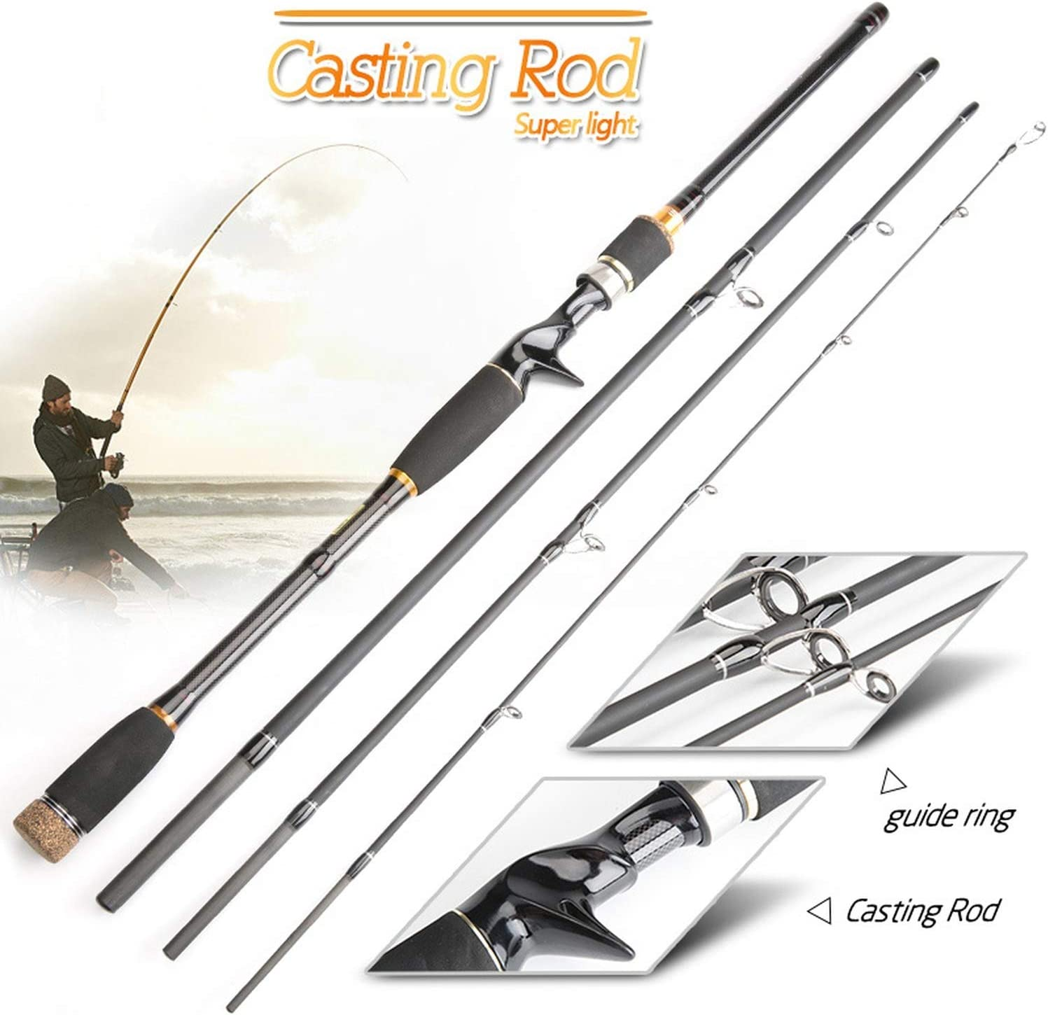 Fishing rod 2.1m 2.4m carbon telescopic lure casting spinning travel