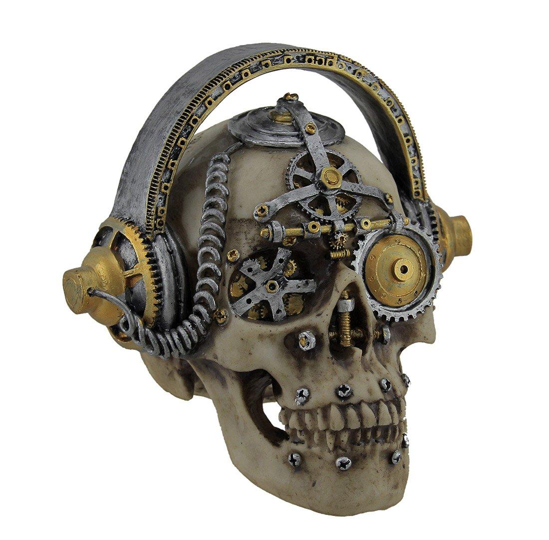 Zeckos Hi-fi Head Gothic Steampunk Skull Wearing Headphones Statue by Zeckos