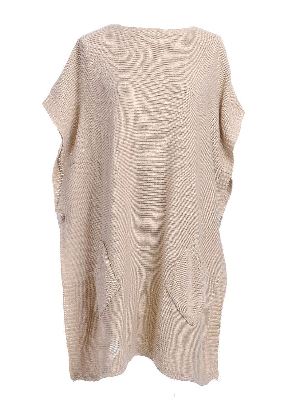Anna-Kaci S/M Fit Thin Cable Knit Side Button Patch Pocket