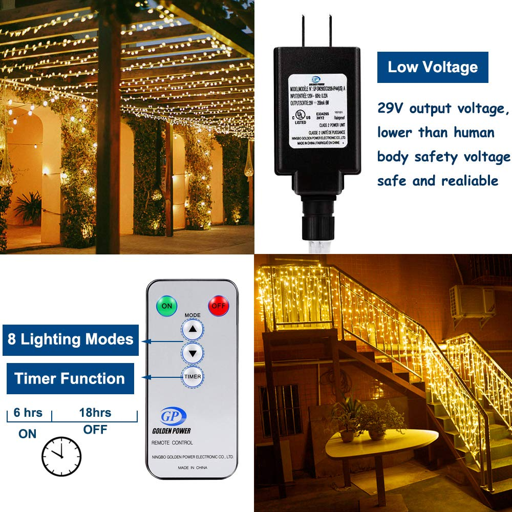 Ollny Led Indoor String Lights 200 LEDs 66ft Fairy String Lights for Indoor Bedroom with Remote and Timer Plug in Indoor Wedding Christmas Party Decorative Lights Warm White 8 Modes Waterproof by Ollny (Image #6)