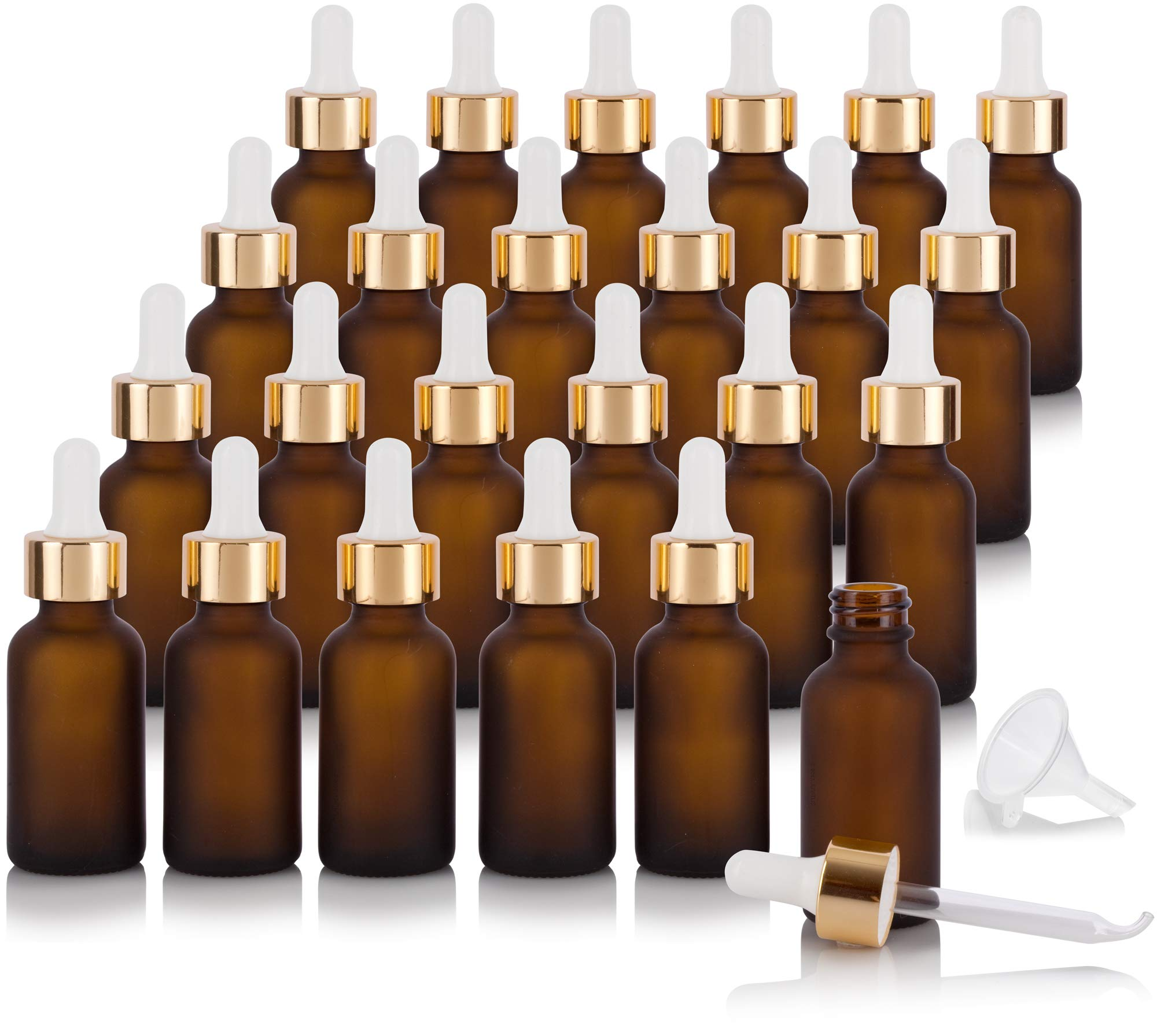 1 oz / 30 ml Frosted Amber Glass Boston Round Bottle with Luxury Gold Metal and Glass Dropper (24 pack) + Funnel for Essential oils, Aromatherapy, E-liquid, Food grade, BPA free by JUVITUS