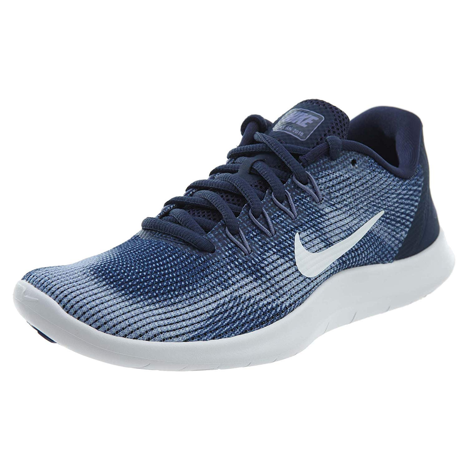 7d376d5fb508a Galleon - Nike Women s Flex RN 2018 Midnight Navy White-Purple Slate Running  Shoes (6 B US)