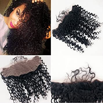 Lace Closures & Frontals Free Part 13x6 Inch Deep Parting Lace Frontal Kinky Curly Natural Color Peruvian Remy Hair Frontal With Bleached Knots Lace Wigs