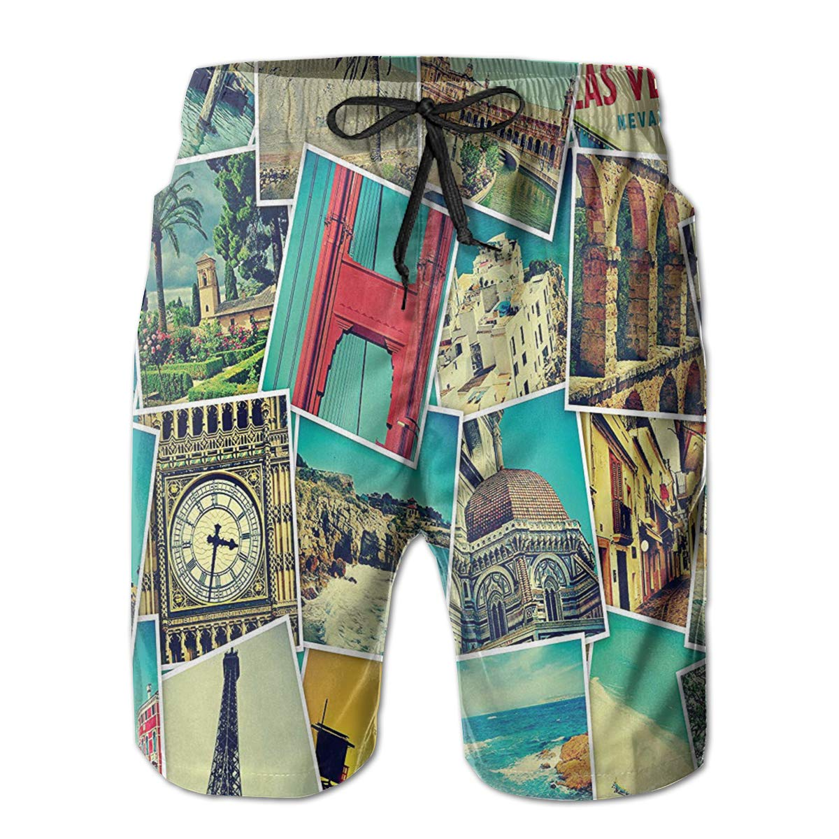 Bilybily Mosaic with Pictures of Different Places Mens Swim Trunks Quick Dry Board Shorts with Pockets Summer Beach Shorts