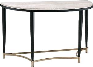 Benjara Semi Circular Tabletop Sofa Table with Metal Apron Trims, Black and Brown