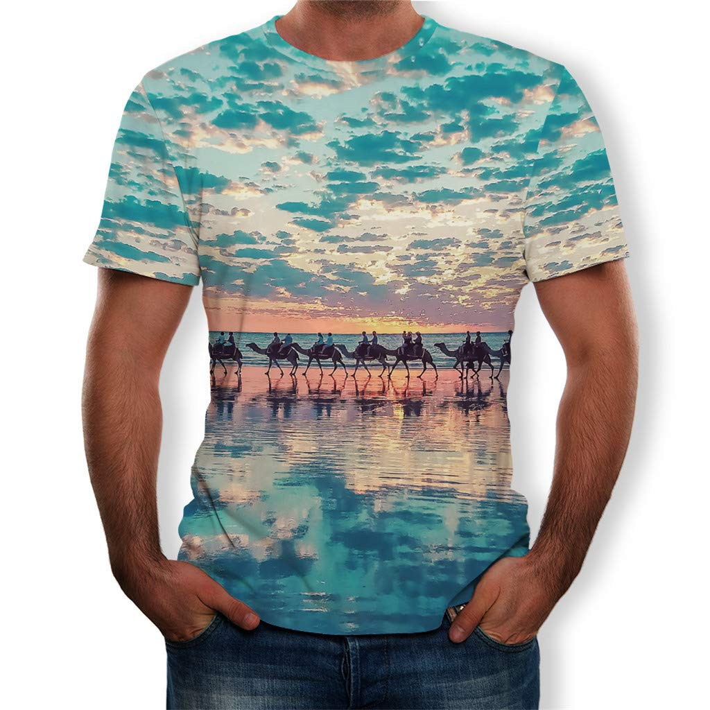 ASERTYL Unisex 3D Print Hipster Shirt Hip Hop Style Casual Landscape Graphics Tees Short Sleeve T-Shirts