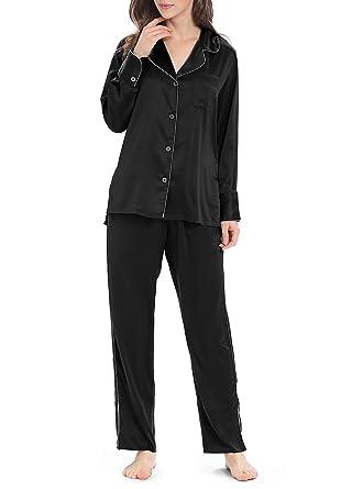 6dd1b7442f Genuwin Silky Pajama Set for Women Button-Down Satin Sleepwear Set Long  Sleeve 2-