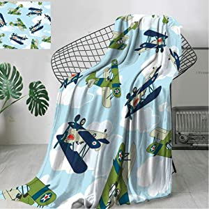 "Airplane Decor Bedding Fleece Blanket, Vintage Allied Plane Flying Pattern Cartoon Children Kids Repeating Toys Shark Teeth Soft Blanket Suitable for All Season, 80"" x 60"""