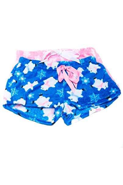 womens 2pk christmas cute animal plush sleepwear pajama shorts 2pksh at amazon womens clothing store