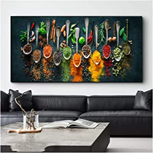 Herbs and Spices for Cooking Canvas Art Canvas Painting Posters and Print Cuadros Wall Art for Living Room Home Decor 50x100cm(20x40in)